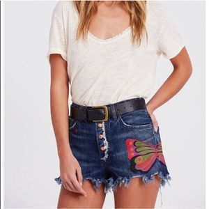 FREE PEOPLE Boulder Beach Butterfly Denim Shorts